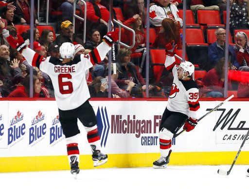 online store ddc1d 94f2e Gibbons scores in OT to lift Devils over Red Wings 4-3