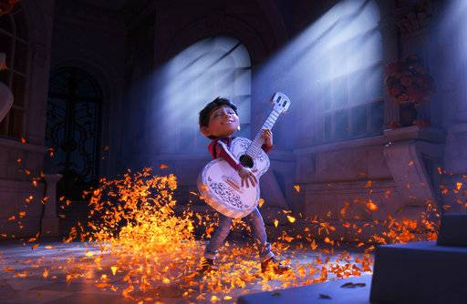 "Miguel (voiced by Anthony Gonzalez) sings his heart out in ""Coco."""