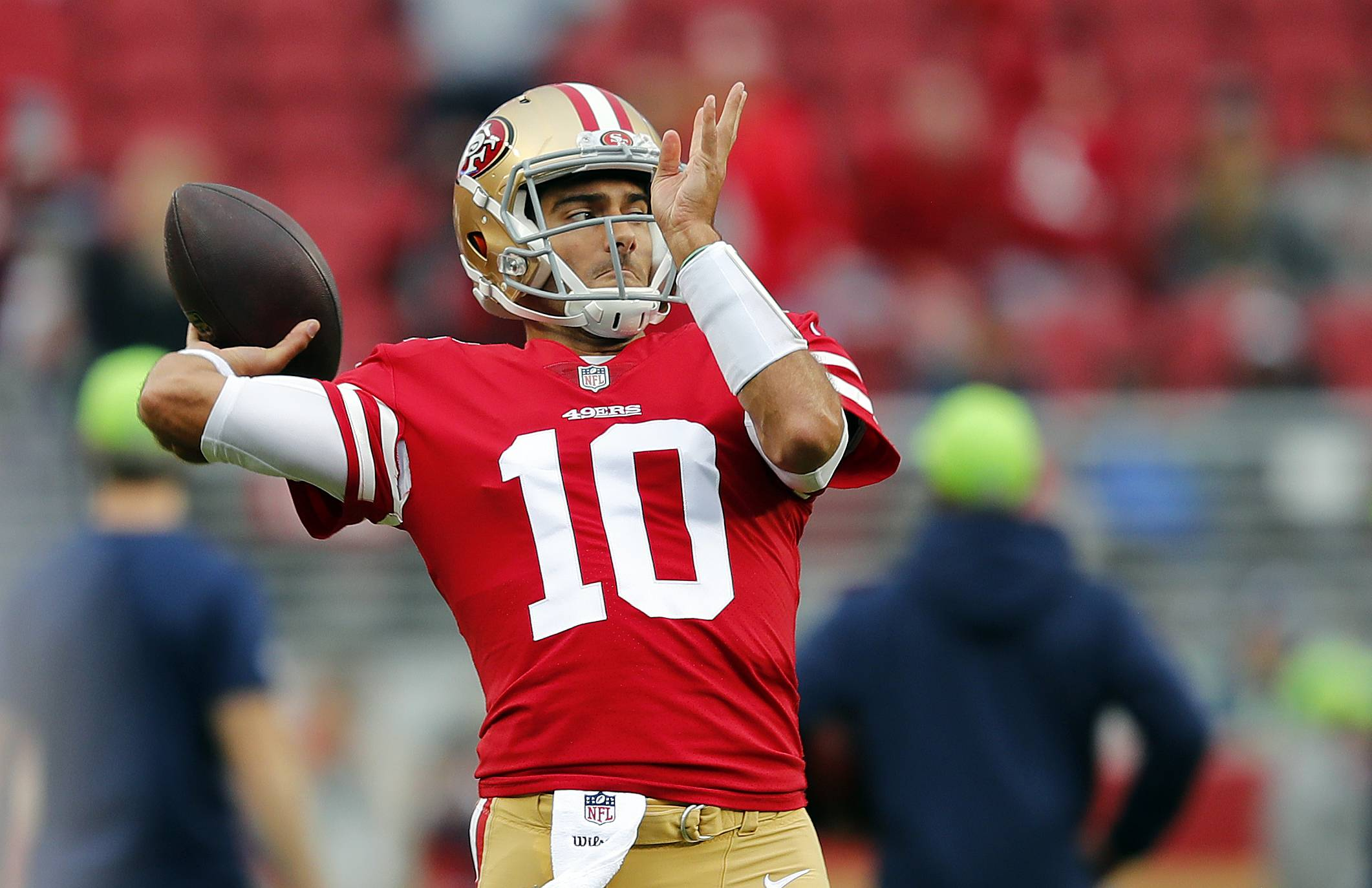 San Francisco 49ers quarterback Jimmy Garoppolo warms up before an NFL football game against the Seattle Seahawks Sunday, Nov. 26, 2017, in Santa Clara, Calif. (AP Photo/John Hefti)
