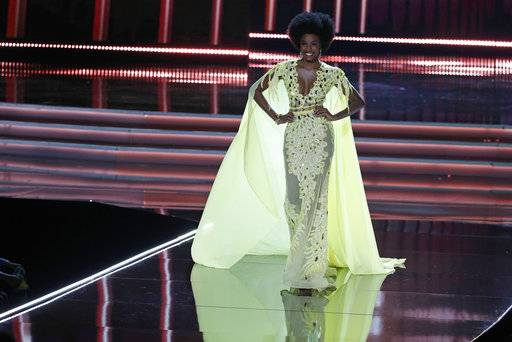 Miss Jamaica Davina Bennett competes at the Miss Universe pageant Sunday, Nov. 26, 2017, in Las Vegas. (AP Photo/John Locher)