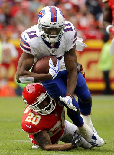 Buffalo Bills wide receiver Zay Jones (11) is tackled by Kansas City Chiefs defensive back Steven Nelson (20) during the first half of an NFL football game in Kansas City, Mo., Sunday, Nov. 26, 2017. (AP Photo/Charlie Riedel)