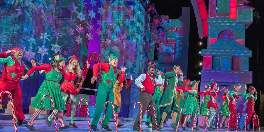 "The staff of Macy's department store is led by Buddy the elf (Kyle Adams) in the production number ""Sparklejollytwinklejingley"" in Paramount's ""Elf the Musical."""