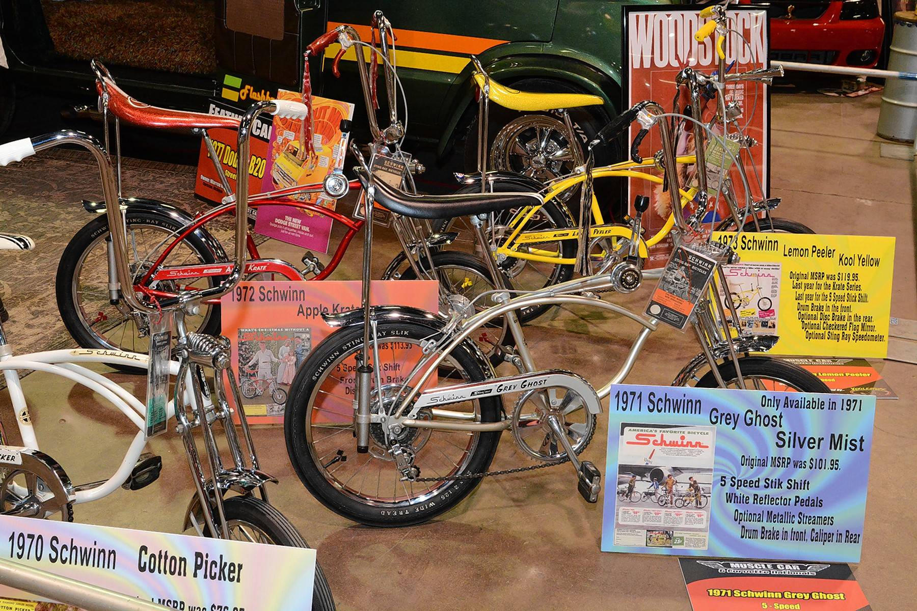 "Denise Myers brought along her collection on 1970s Schwinn ""muscle"" bikes to the show."