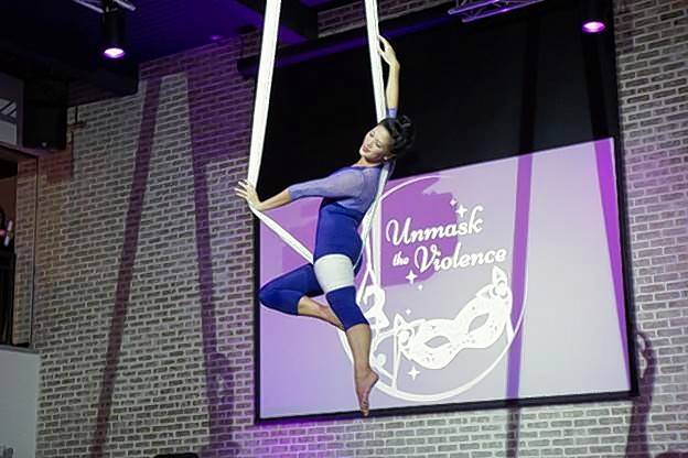 The 2017 Unmask the Violence Gala featured aerial performances by C5-Create With No Limits.