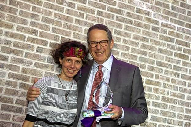 "A Safe Place Board member Michael Rosengarden received the Betty Toser ""Angel"" Award from Heather Toser for his generosity, commitment and leadership during the past 12 years."