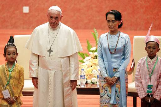 Pope Francis meets Myanmar's leader Aung San Suu Kyi at the International Convention Centre of Naypyitaw, Myanmar, Tuesday, Nov. 28, 2017. The pontiff is in Myanmar for the first stage of a week-long visit that will also take him to neighboring Bangladesh. (AP Photo/Andrew Medichini)