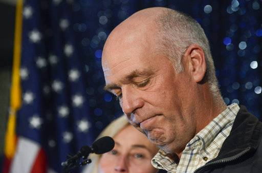 "FILE - In this May 25, 2017, file photo, Greg Gianforte celebrates his win over Rob Quist for Montana's open congressional seat in Bozeman, Mont. An attorney for a reporter assaulted by Gianforte on the eve of his election says the lawmaker's spokesman lied when he said ""no one was misled"" by the Republican's initial denial of responsibility. The attorney for Guardian reporter Ben Jacobs sent a cease and desist letter on Monday, Nov. 27, 2017, telling Gianforte and his staff to stop making ""false and defamatory statements"" about Jacobs. (Rachel Leathe/Bozeman Daily Chronicle via AP, File)"