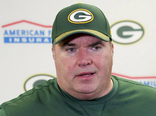 Green Bay Packers head coach Mike McCarthy faces reporters following a 31-28 loss to the Pittsburgh Steelers in a Sunday Night Football game in Pittsburgh, Sunday, Nov. 26, 2017. (AP Photo/Don Wright)
