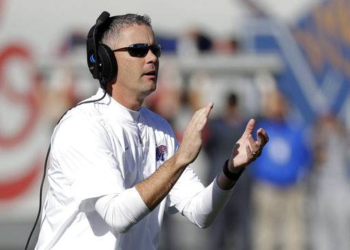 Memphis head coach Mike Norvell cheers his players after a touchdown against East Carolina in the first half of an NCAA college football game Saturday, Nov. 25, 2017, in Memphis, Tenn. (AP Photo/Mark Humphrey)