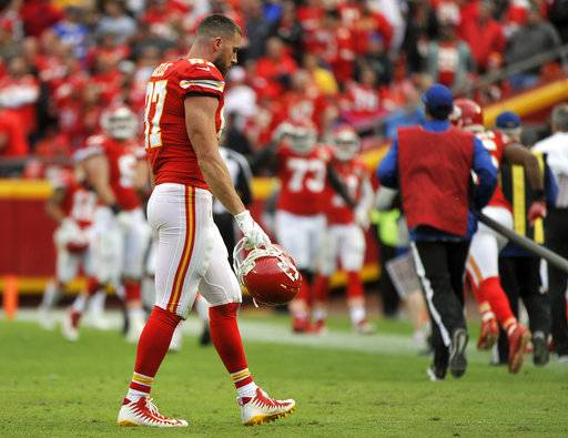 Kansas City Chiefs tight end Travis Kelce (87) walks off the field following an NFL football game against the Buffalo Bills in Kansas City, Mo., Sunday, Nov. 26, 2017. The Buffalo Bills won 16-10. (AP Photo/Ed Zurga)