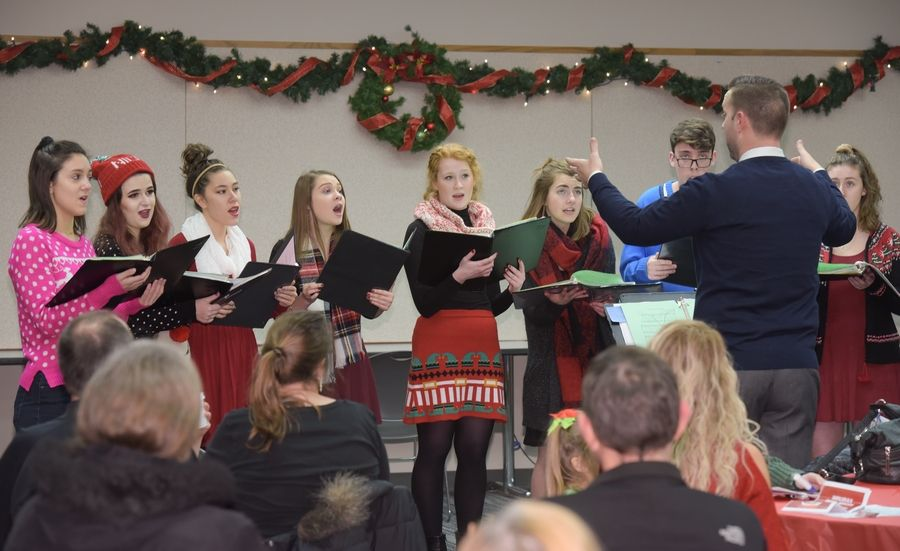 The Lake Park High School Jazz/Chamber Choir perform during the Bloomingdale Public Library Holiday Open on November 28, 2017.