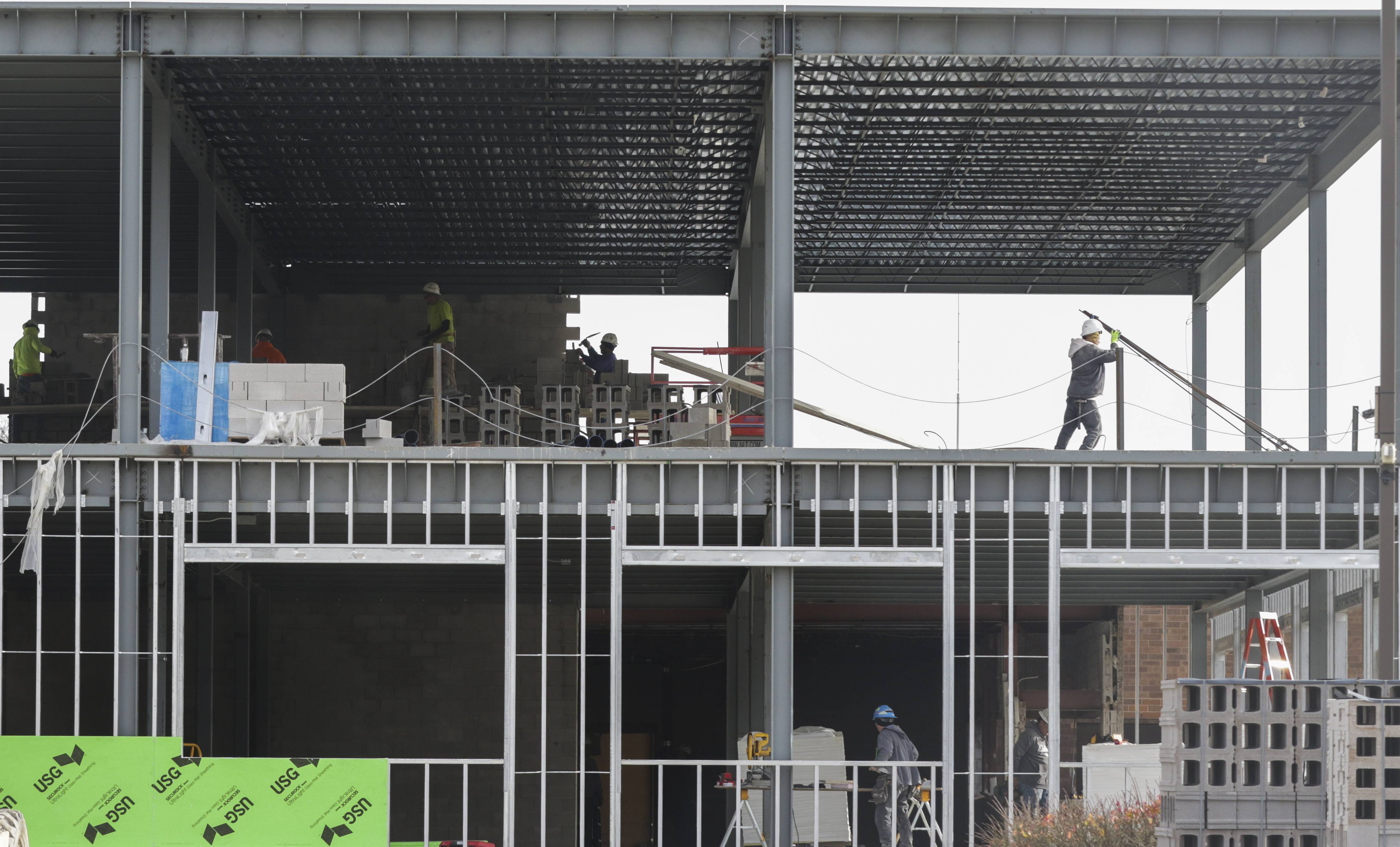 Crews are building a three-level addition on the west side of Carol Stream's village hall.