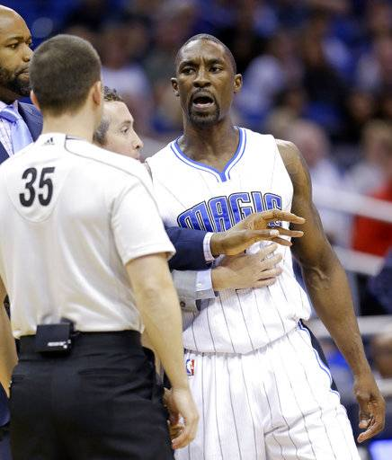 "FILE - In this Jan. 31, 2015, file photo, Orlando Magic's Ben Gordon, right, talks with referee Kane Fitzgerald (35) before he was ejected in the fourth quarter of an NBA basketball game against the Dallas Mavericks, in Orlando, Fla. Former NBA player Ben Gordon has been arrested on suspicion of robbery in Los Angeles after police said he punched an apartment manager and pulled a knife. Gordon, 34, went to a building Saturday where he had rented two apartments and demanded his security deposit from the manager, police spokesman Tony Im said Tuesday, Nov. 28, 2017. When the manager said he didn't have access to the deposit money, Gordon ""punched him in the face,"" Im said. (AP Photo/John Raoux, File)"