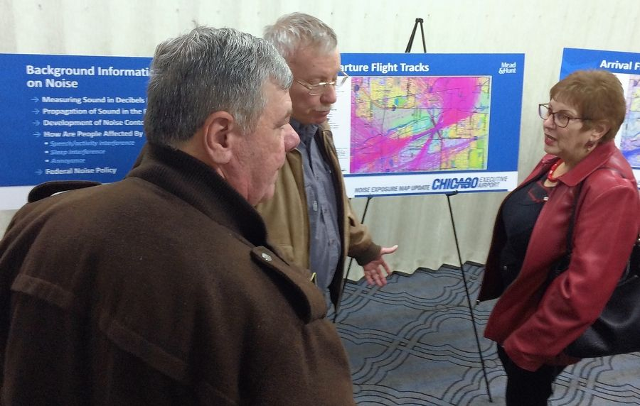 Residents provided comments and asked questions at an open house Tuesday night at the Ramada Plaza Chicago North Shore hotel in Prospect Heights regarding a proposed soundproofing plan for homeowners near Chicago Executive Airport in Wheeling.