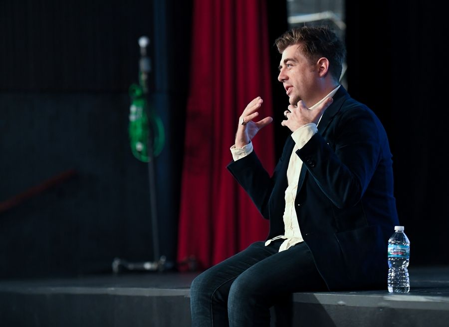 """I've always felt like I'm really lucky to do what I do,"" actor Eric Petersen told Glenbard North High School students. ""I get to play for a living."""