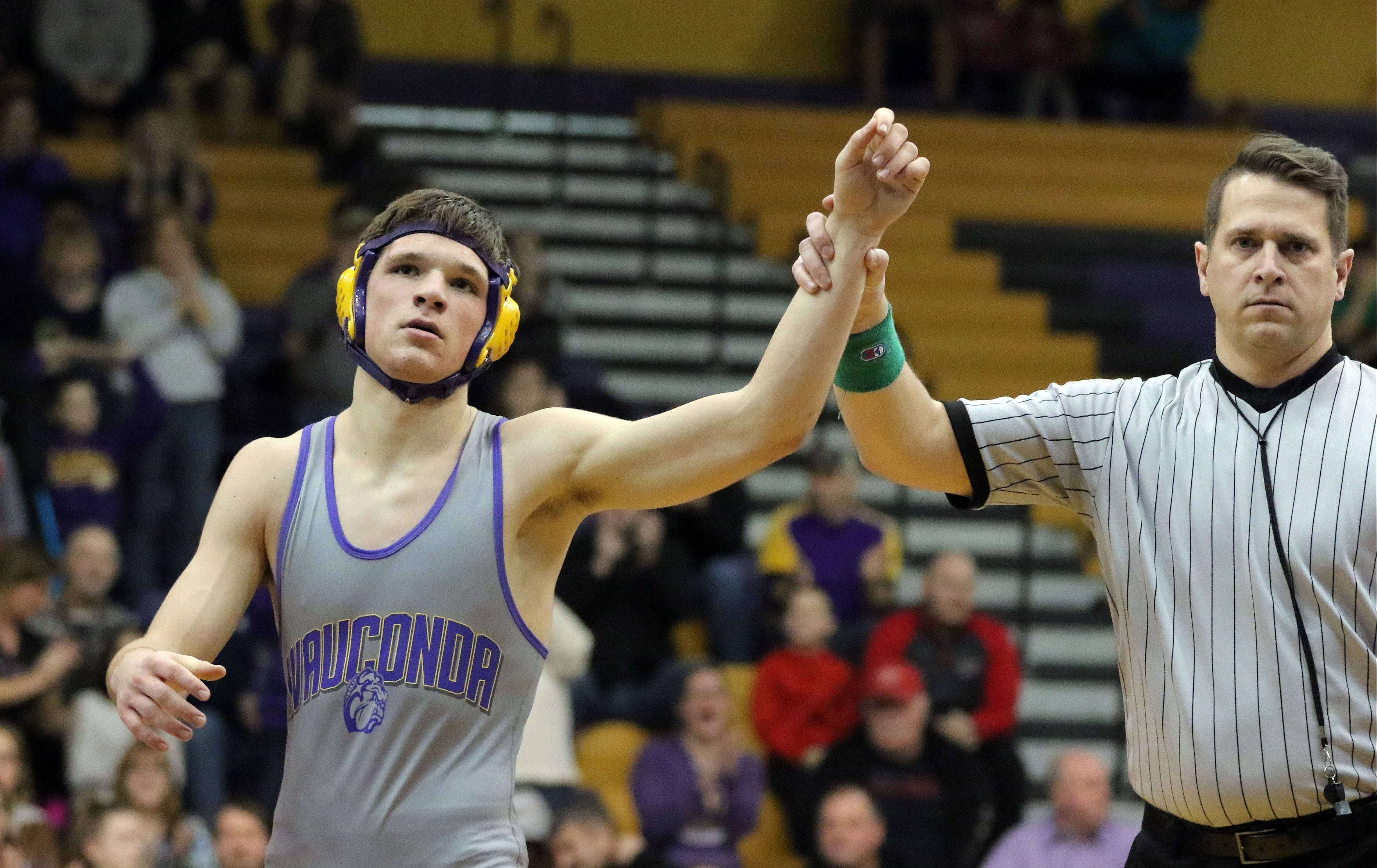 Wauconda's Zac Finn wins his match over Grant's Ryan Alsip at 182 pounds last season. A state qualifier last year, Finn is back for his senior season.