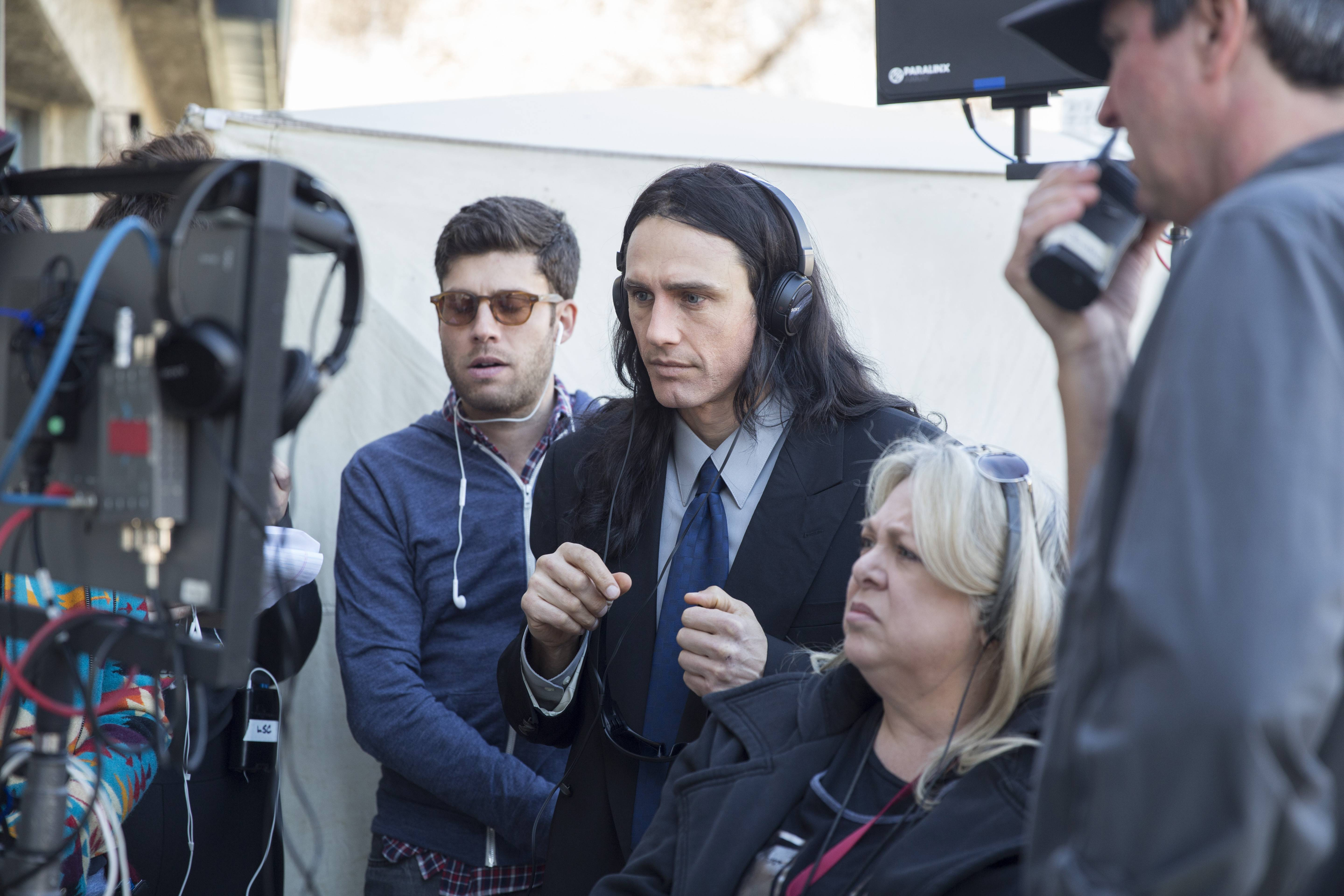 "James Franco, center, directed ""The Disaster Artist"" while staying in character as Tommy Wiseau."