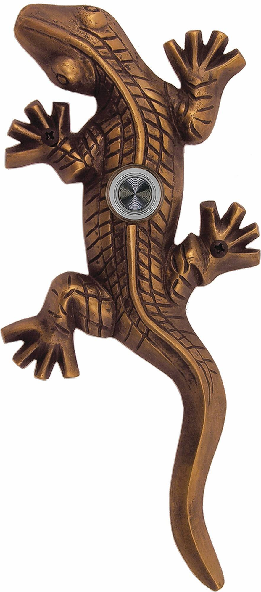 This impish little gecko doorbell cast in brass from Waterwood Hardware.