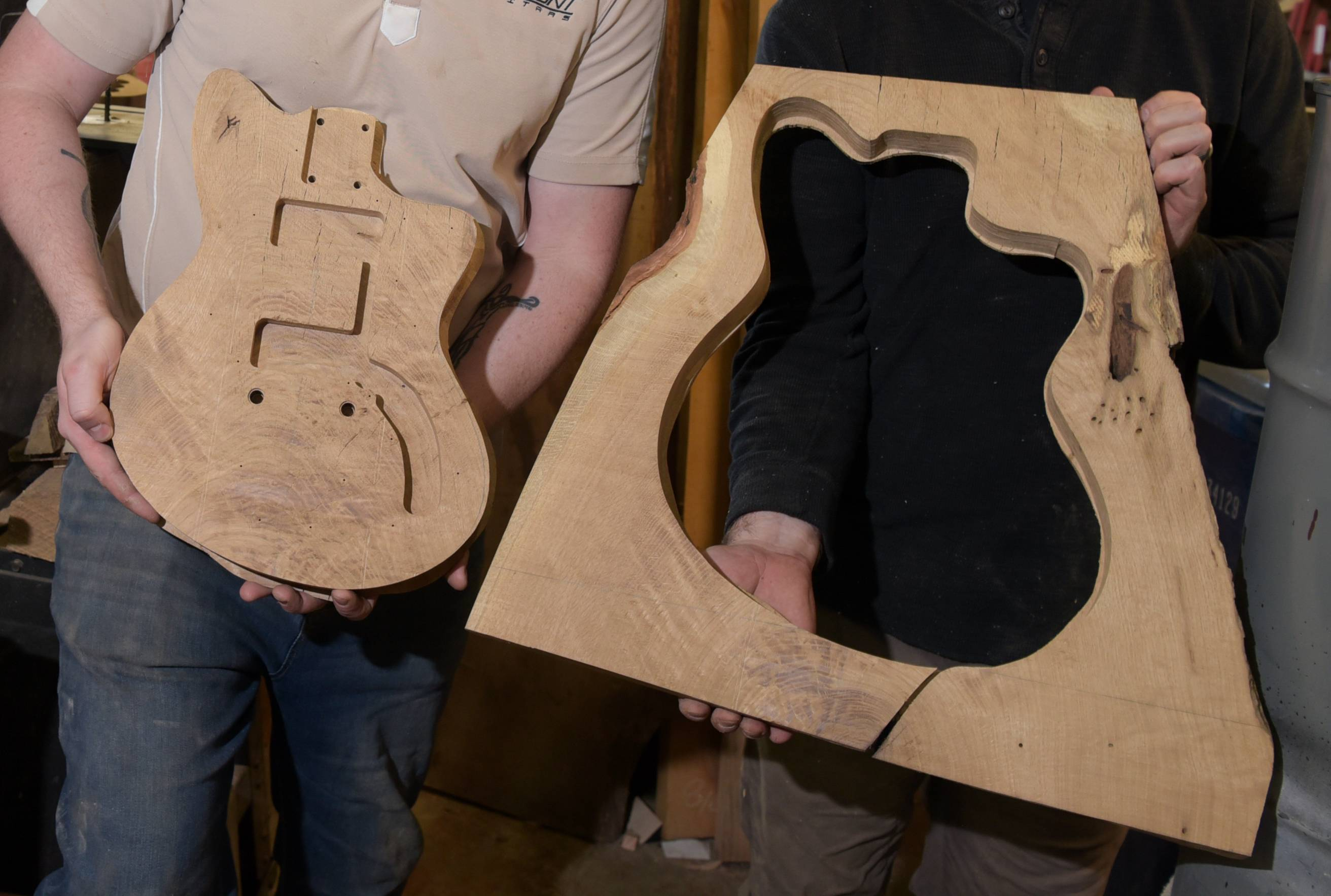 Nate DeMont of DeMont Guitars in Oswego has preserved the cutaway wood from a tree called the Hobson Oak, from which he is fashioning a custom electric instrument that can be auctioned for charity.