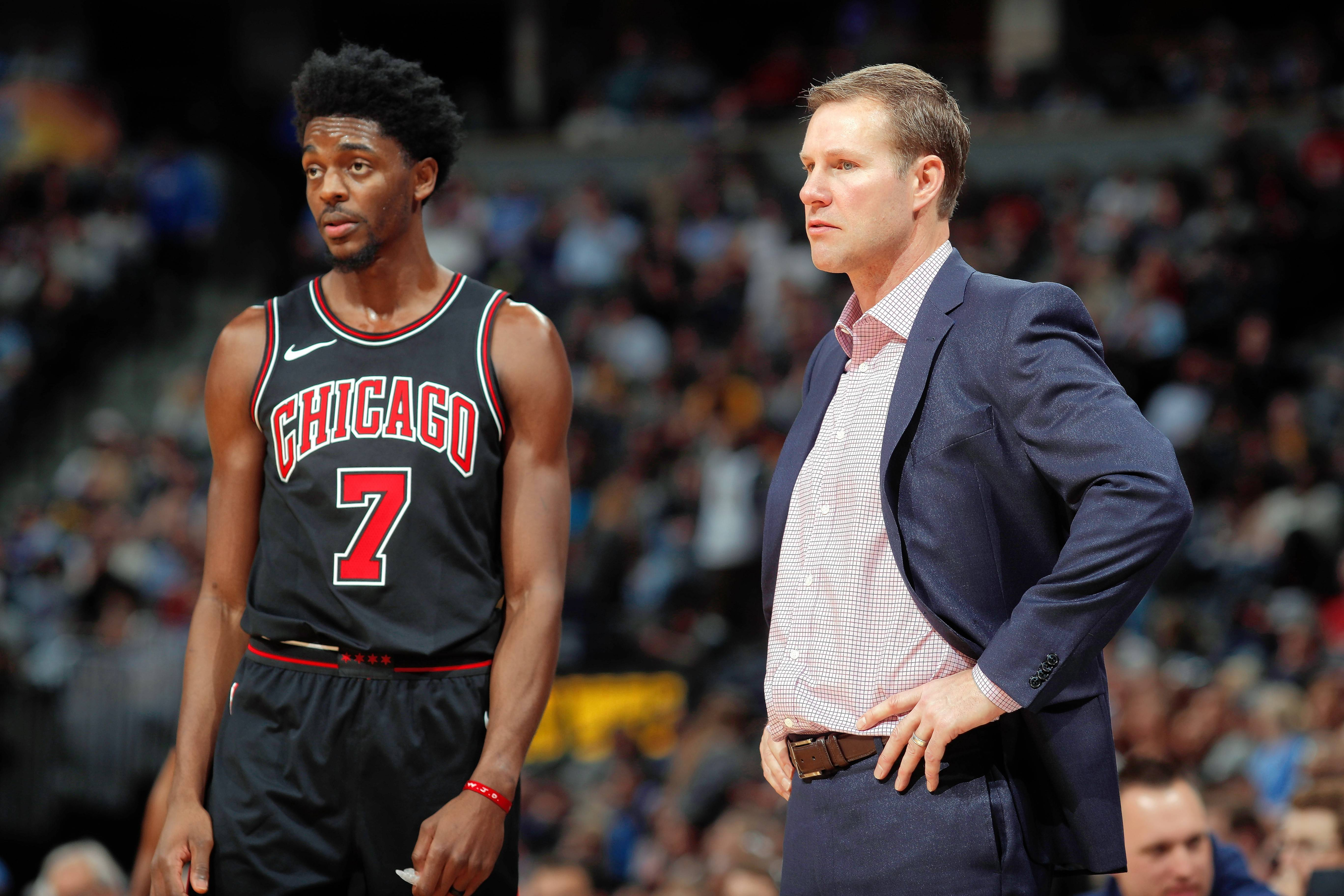 Chicago Bulls guard Justin Holiday, left, tried to take the blame for Thursday's tough loss to Denver, but coach Fred Hoiberg disagreed.