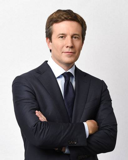 "This photo provided byBroadcasting Inc. shows Jeff Glor in New York. The ""CBS Evening News"" gets a new face and an additional run time starting Monday, Dec. 4, 2017. Glor takes over as the broadcast's anchor replacing Scott Pelley and his sub for the past several months, Anthony Mason. (Timothy Kuratek/ CBS Broadcasting Inc. via AP)"