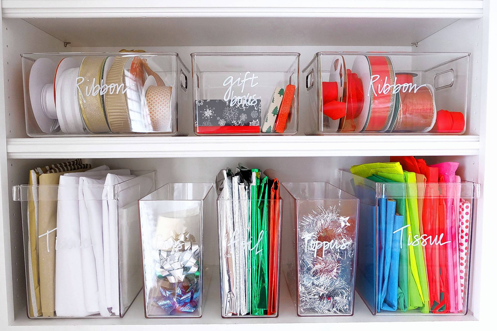 Make sure you are well stocked with wrapping essentials and keep them all in one spot.