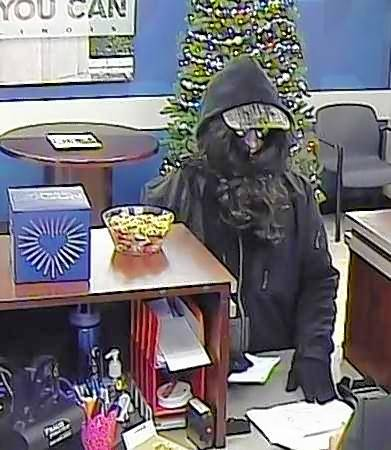 A surveillance photo of the person who robbed a Chase bank branch in Cary Friday afternoon.