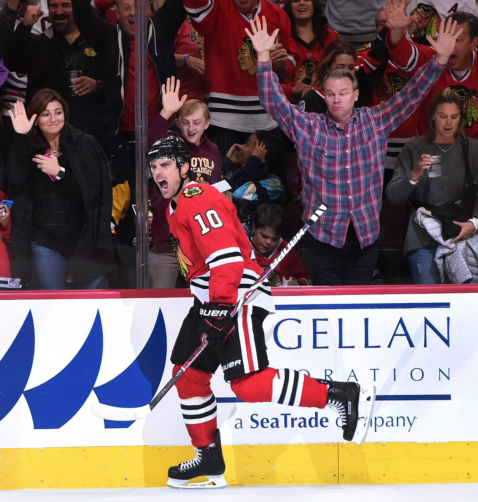 Chicago Blackhawks left wing Patrick Sharp says he's happy to be home after being sent packing to Dallas in 2015 as part of a salary cap move.