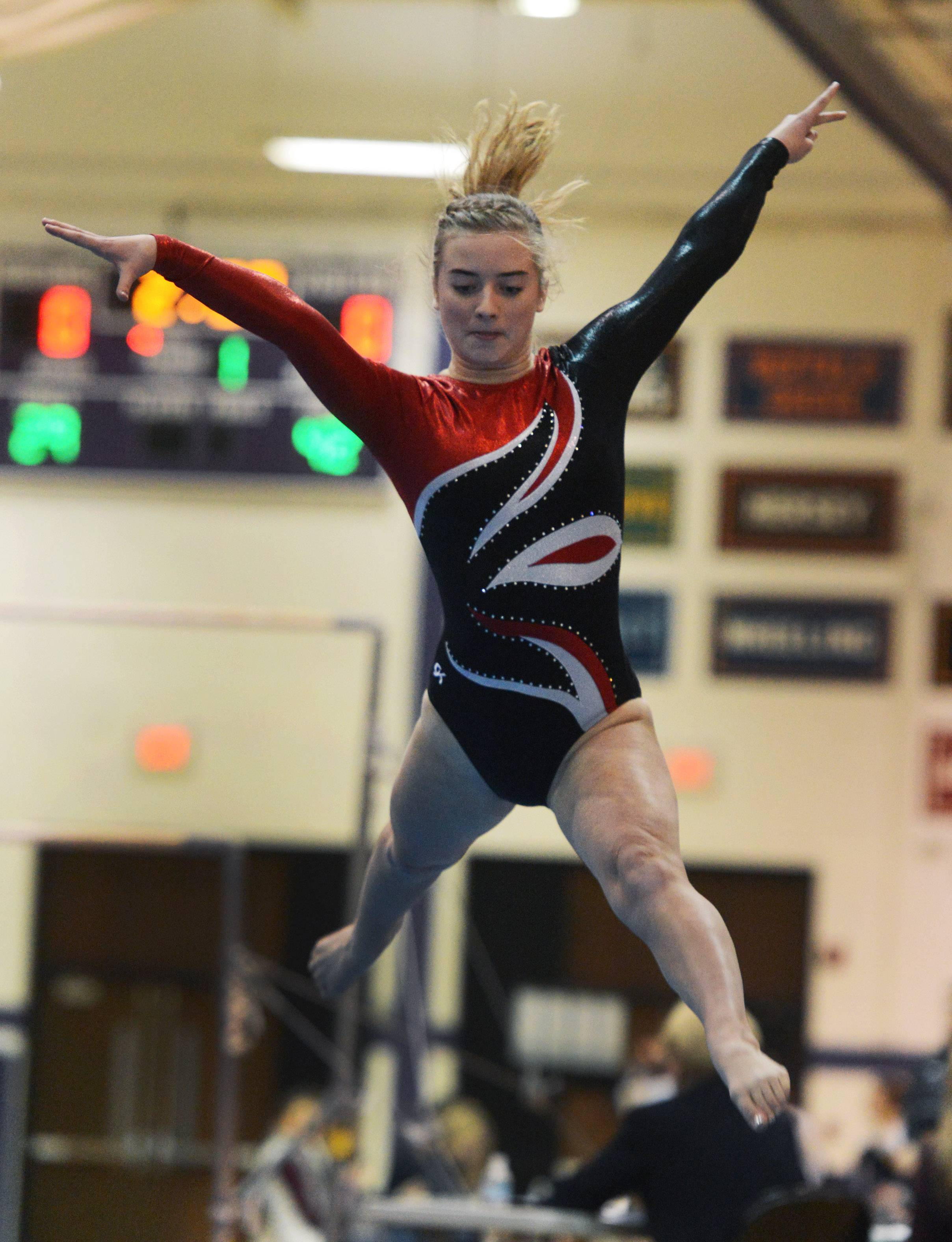 Barrington's Lauren Tenbrunsel competes on the floor exercise during the Rolling Meadows invite Saturday.