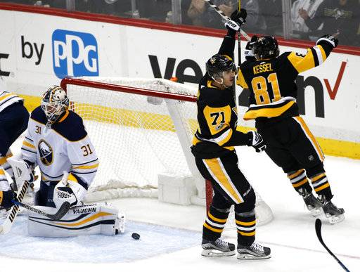 Pittsburgh Penguins' Evgeni Malkin (71) celebrates his goal past Buffalo Sabres goalie Chad Johnson (31) during the first period of an NHL hockey game in Pittsburgh, Saturday, Dec. 2, 2017. (AP Photo/Gene J. Puskar)