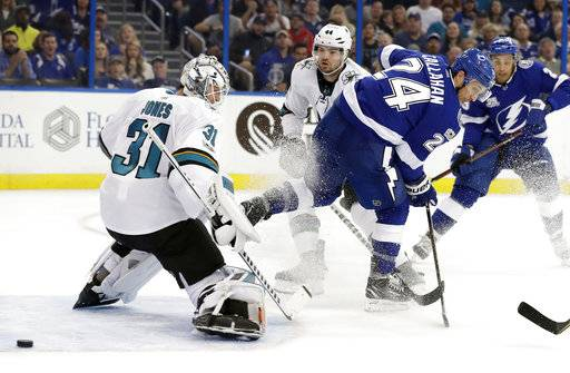 Tampa Bay Lightning right wing Ryan Callahan (24) watches his backhanded shot go wide of San Jose Sharks goalie Martin Jones (31) during the second period of an NHL hockey game Saturday, Dec. 2, 2017, in Tampa, Fla. (AP Photo/Chris O'Meara)