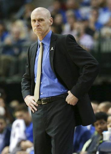 Dallas Mavericks head coach Rick Carlisle looks on from the sidelines during the first half of an NBA basketball game against the LA Clippers in Dallas, Saturday, Dec. 2, 2017. The Mavericks won 108-82. (AP Photo/LM Otero)