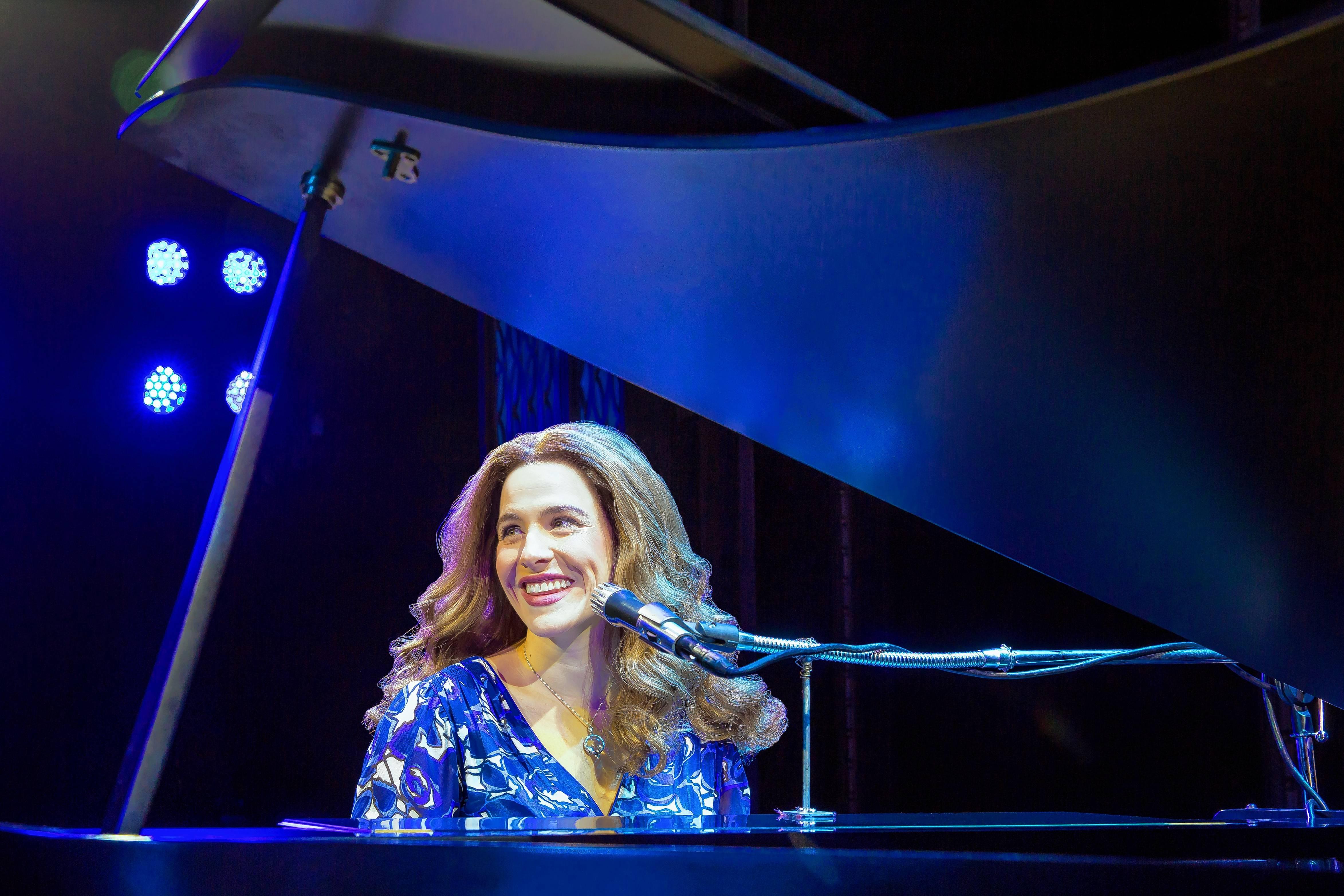 "Carole King (Chicago actress Sarah Bockel) performs in concert at Carnegie Hall in the national touring return of ""Beautiful — The Carole King Musical"" at the Cadillac Palace Theatre in Chicago."