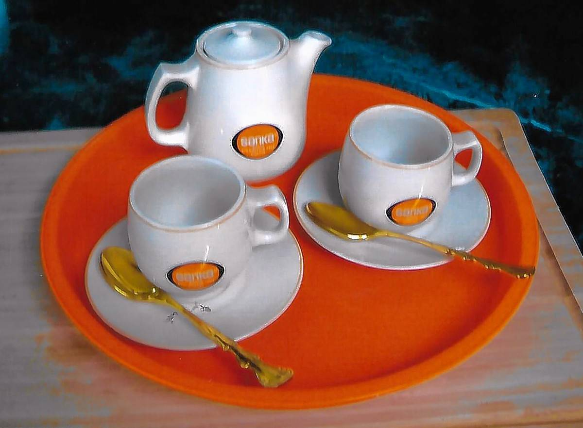 Sanka coffee's orange accent color became associated with decaffeinated coffee.