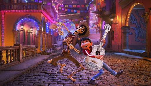 "Hector, voiced by Gael Garcia Bernal, left, and Miguel, voiced by Anthony Gonzalez, have a little fun in ""Coco."""