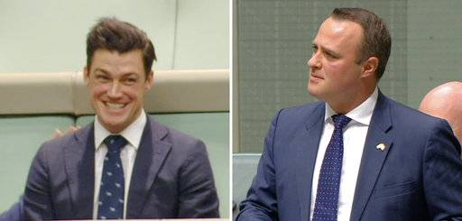 In this combination of images made video from Australia's Parliament TV, Australian lawmaker Tim Wilson, right, proposes to his gay partner Ryan Patrick Bolger, who was sitting in the public gallery, at Parliament in Canberra, Australia, Monday, Dec. 4, 2017. Wilson was giving a speech on same-sex marriage and proposed to Bolger during Parliament's debate on a bill that is expected to soon legalize marriage equality across the country. (Parliament TV via AP)