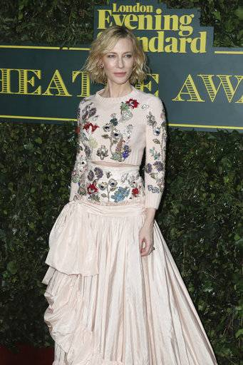Actress Cate Blanchett poses for photographers on arrival at the Evening Standard Theatre Award in London, Sunday, Dec. 3, 2017. (Photo by Grant Pollard/Invision/AP)