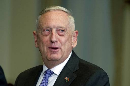 In this Nov. 30, 2017, photo, Defense Secretary Jim Mattis responds to a reporter's question during a meeting with Libyan Prime Minister Fayez Serraj at the Pentagon. Mattis will meet with Pakistan leaders Monday to seek common ground on the counterterrorism fight, amid the Trump administration calls for Islamabad to more aggressively go after the insurgents moving back and forth across the border with Afghanistan. (AP Photo/Cliff Owen)