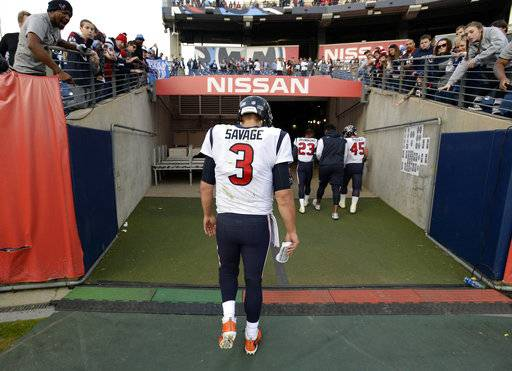 Houston Texans quarterback Tom Savage leaves the field after an NFL football game against the Tennessee Titans Sunday, Dec. 3, 2017, in Nashville, Tenn. The Titans won 24-13. (AP Photo/Mark Zaleski)