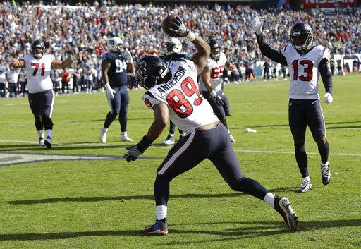 Houston Texans tight end Stephen Anderson (89) celebrates after catching a 4-yard touchdown pass against the Tennessee Titans in the first half of an NFL football game Sunday, Dec. 3, 2017, in Nashville, Tenn.