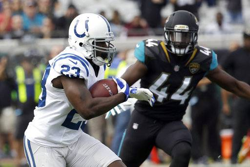 Indianapolis Colts running back Frank Gore (23) runs past Jacksonville Jaguars linebacker Myles Jack (44) for a short gain during the first half of an NFL football game, Sunday, Dec. 3, 2017, in Jacksonville, Fla. (AP Photo/John Raoux)