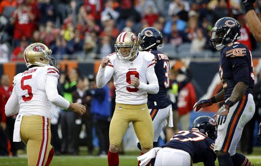 San Francisco 49ers kicker Robbie Gould (9) reacts after kicking a game winning field goal during the second half of an NFL football game against the Chicago Bears, Sunday, Dec. 3, 2017, in Chicago. The 49ers won 15-14.