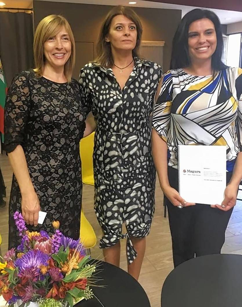 Bulgaria's first lady visited Magura -- The Bulgarian Collective Space in Arlington Heights in October. Bulgarian First Lady Dessislava Radeva, center, posed with Magura co-founders Nadia Jeliazkova, left, and Valentina Limov during the visit.