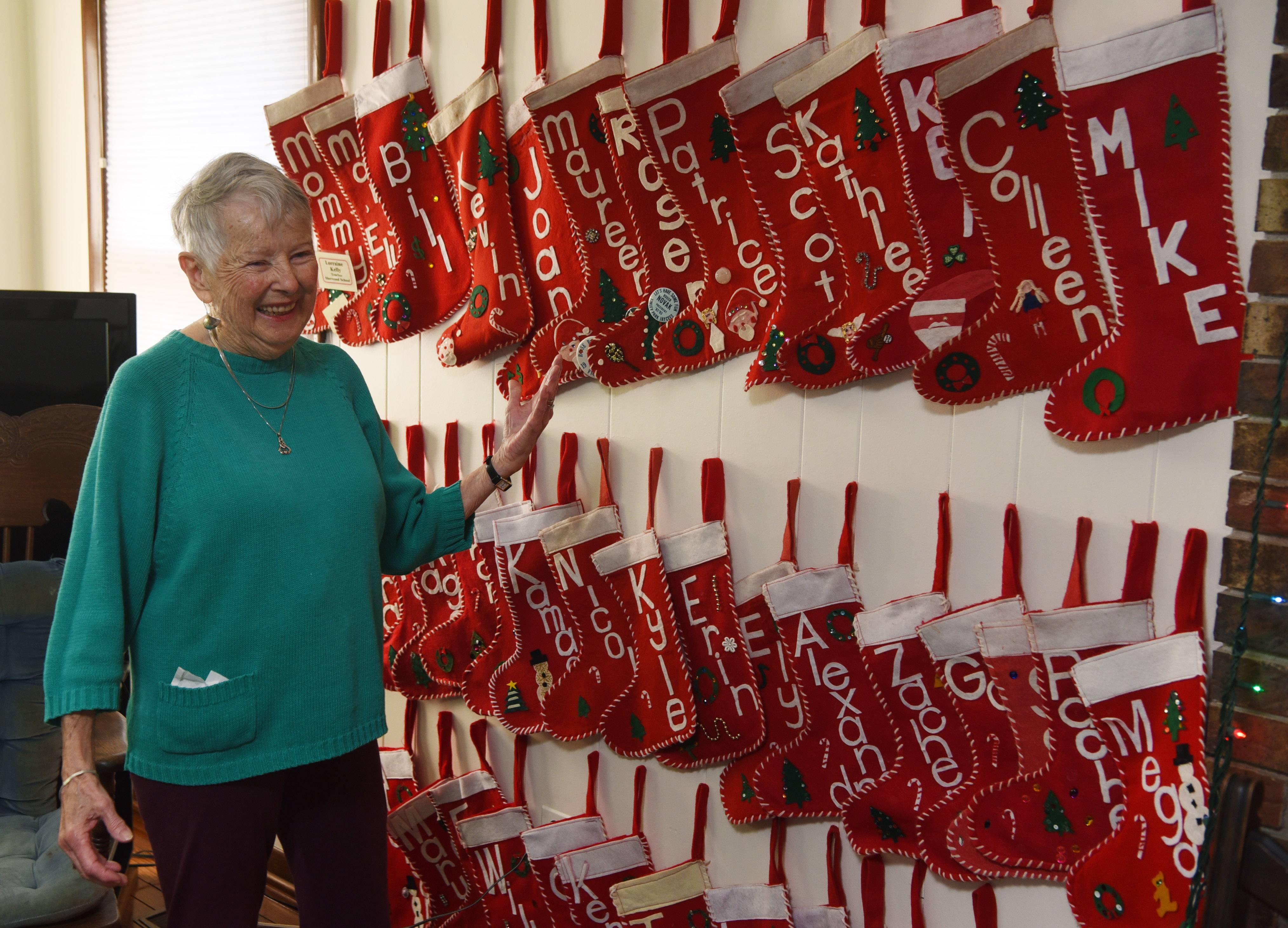 Lorraine Kelly of Arlington Heights has 73 stockings hanging in her house for each member of her extended family. The stockings have become a symbol of a beloved Christmas holiday, drawing the family together in celebration of the season and of one another.