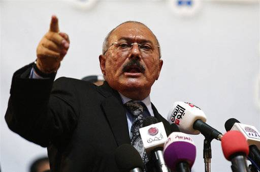"FILE - In this Sept. 3, 2012 file photo, former Yemeni President Ali Abdullah Saleh speaks during a ceremony marking the 30th anniversary of his General People's Congress party in Sanaa, Yemen. Saleh, Yemen's most powerful leader, who played a central role in the country's civil war, has been killed, according to several Yemeni officials and a militias' video which showed the man dressed in a dark suit, motionless, and carried in a blanket amid chants of ""God is Great.� Saleh's death was announced Monday, Dec. 4, 2017, by Yemen's Houthi rebels, who have been fighting Saleh's forces for the past week."