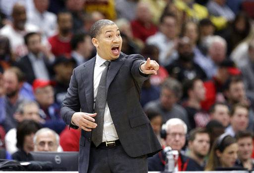 Cleveland Cavaliers' Tyronn Lue directs his team during the first half of an NBA basketball game against the Chicago Bulls Monday, Dec. 4, 2017, in Chicago.