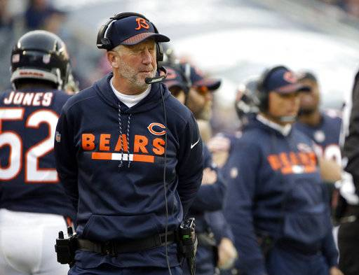 Chicago Bears head coach John Fox reacts as he watches the game during the second half of an NFL football game against the San Francisco 49ers, Sunday, Dec. 3, 2017, in Chicago.