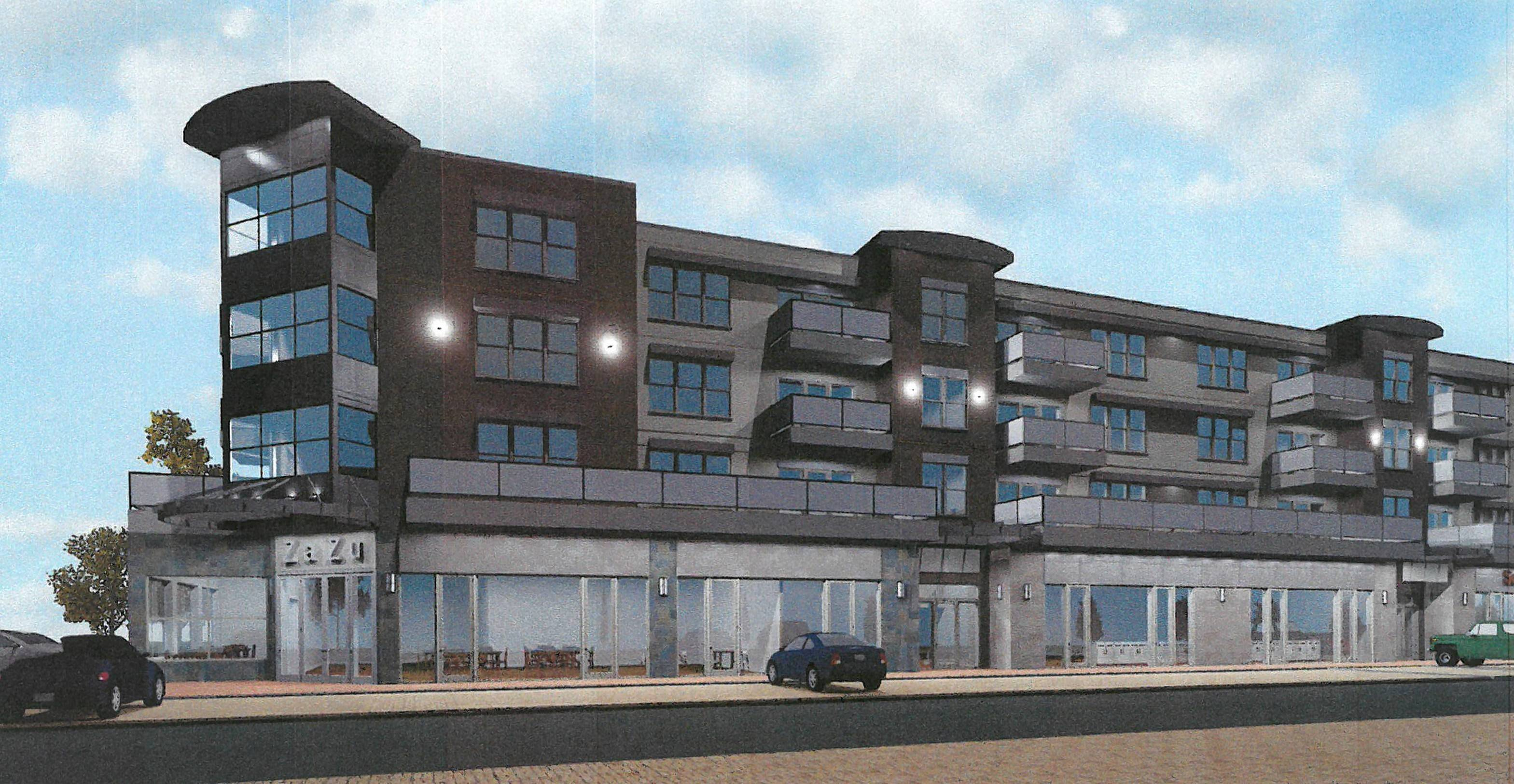 This is an artist's rendering of the proposed apartment and retail building in Dundee Commons across from the Wheeling Town Center.