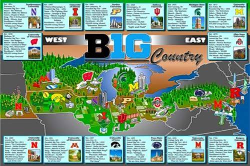 Jeffrey Petrovski, who is passionate about college sports, has designed a poster map depicting all of the universities in the Big Ten Conference.