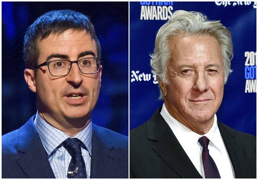 "In this combination photo, John Oliver appears at the Stand Up for Heroes event in New York on Feb. 28, 2015,, left, and actor  Dustin Hoffman attends the 27th annual Independent Film Project's Gotham Awards in New York on Nov. 27, 2017.  Oliver confronted Hoffman about allegations of sexual harassment during a 20th-anniversary screening panel for the film ""Wag the Dog"" at the 92nd Street Y in New York. (Photos by Charles Sykes, left, and Evan Agostini/Invision/AP)"